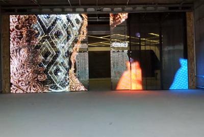 河南透明屏移动门项目案例,透明LED移动门